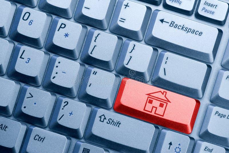 按钮房子图标 免版税图库摄影