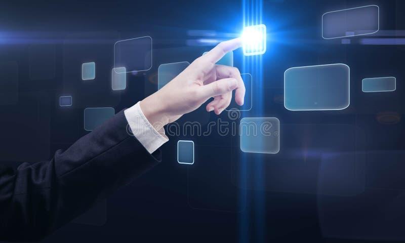 按钮推进屏幕接触的现有量界面 皇族释放例证