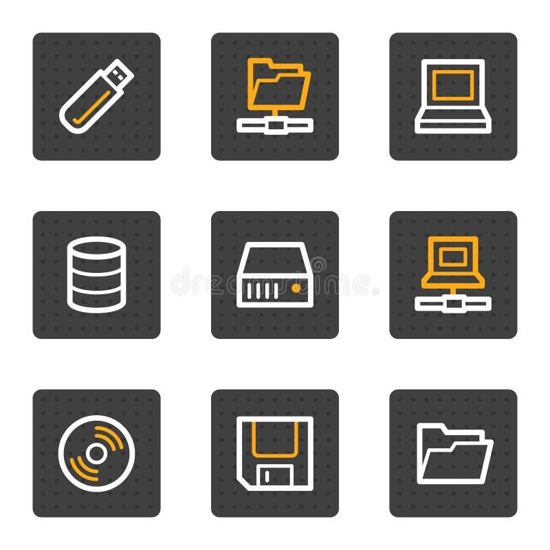 按钮推进灰色图标系列存贮万维网 库存例证