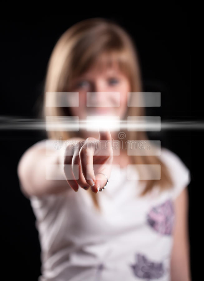 按钮数字式现有量按妇女 免版税图库摄影