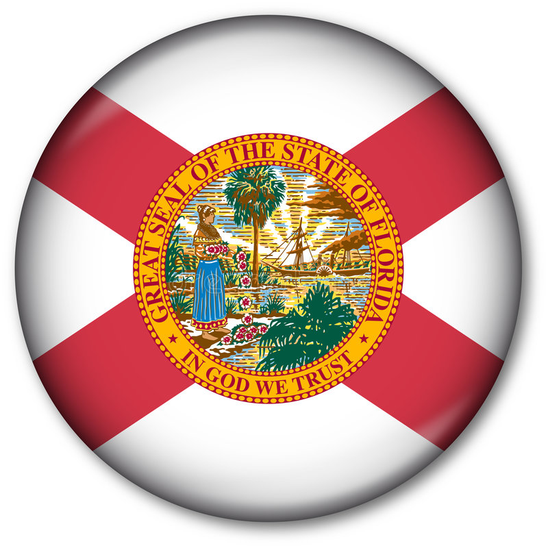 按钮标志佛罗里达状态 库存例证