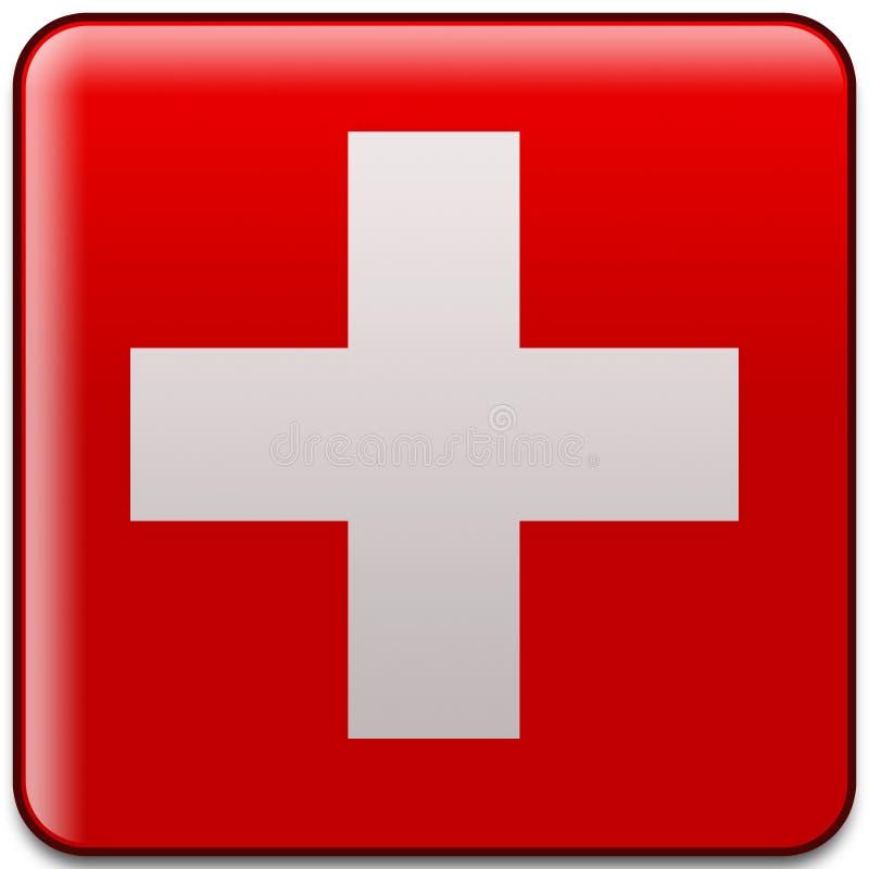 按钮标志瑞士 免版税库存照片