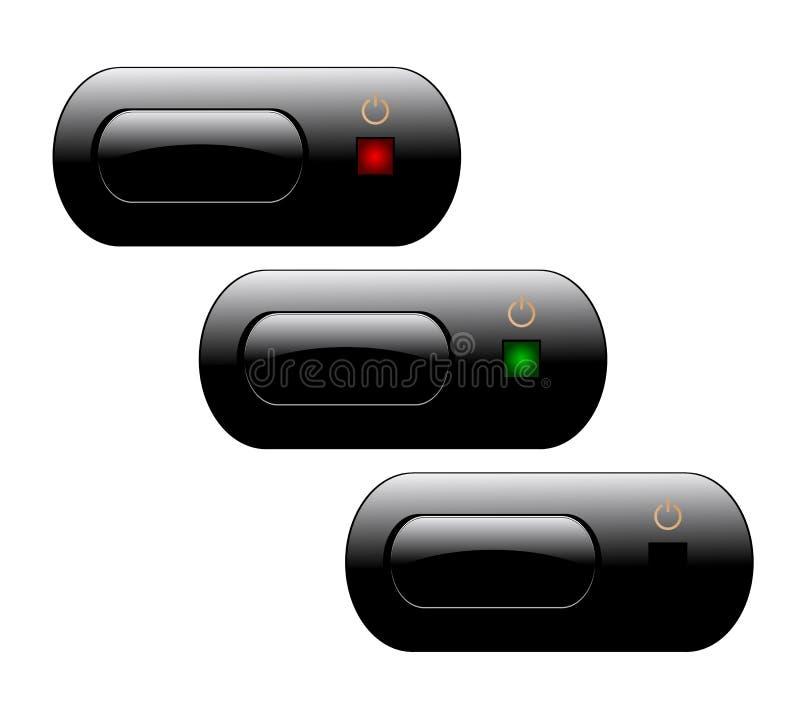 按钮次幂电视 库存例证