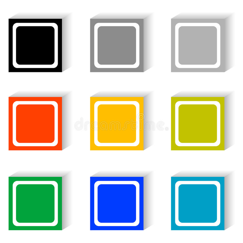 按钮求集的立方 向量例证