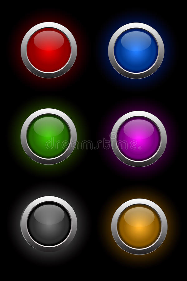 按钮玻璃氖集合向量 向量例证
