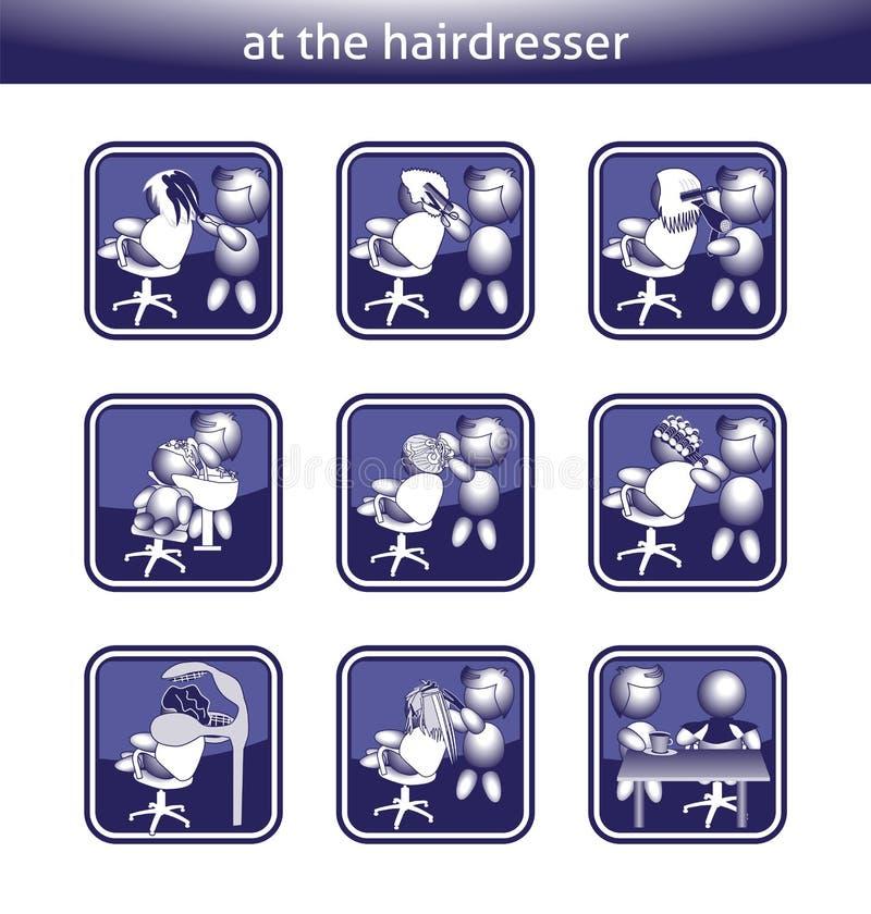 按钮理发师洗染的发色吹干切开了被放置的干燥子线 向量例证