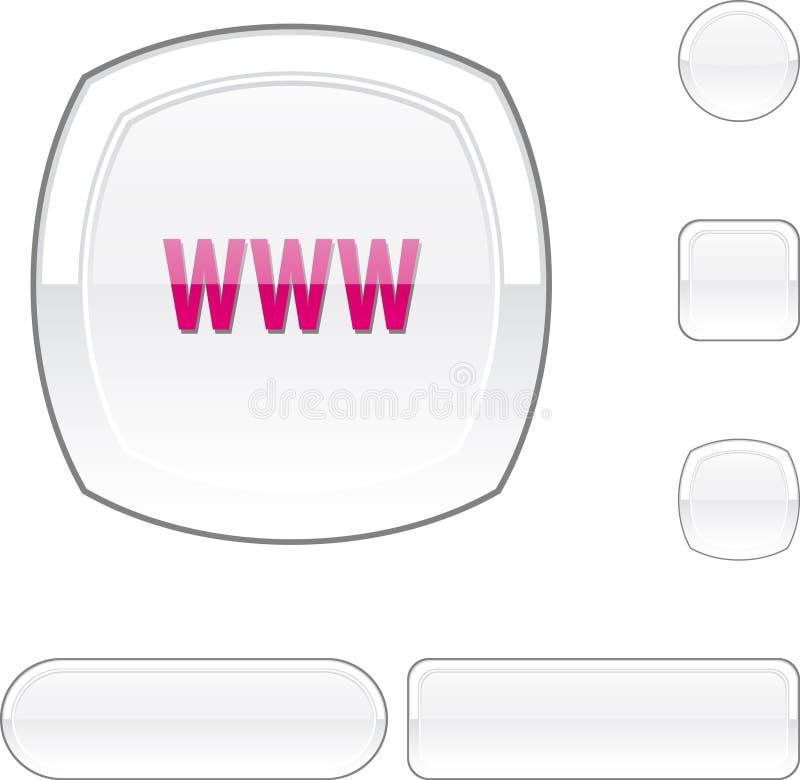 按钮白色万维网 库存例证