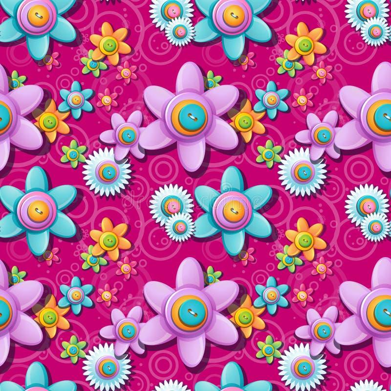 按钮的无缝的花卉样式 向量例证