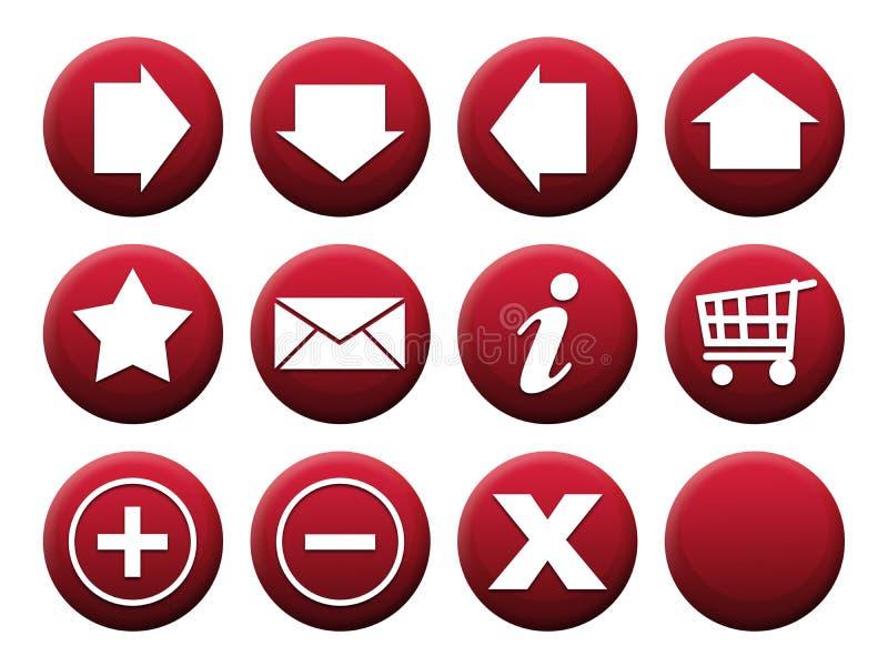 按钮红色集 库存例证