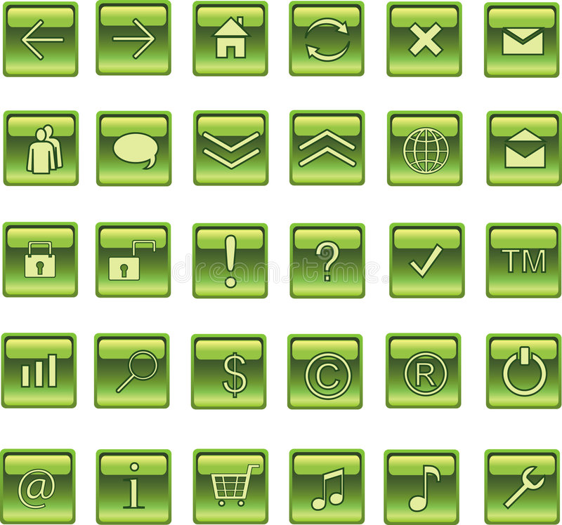 按钮绿色图标轻方形万维网 向量例证