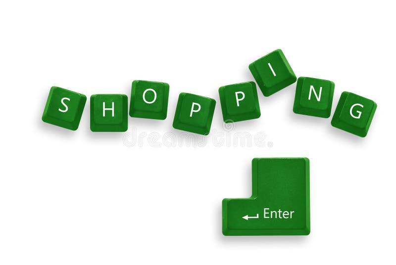 按钮绿色购物 库存照片