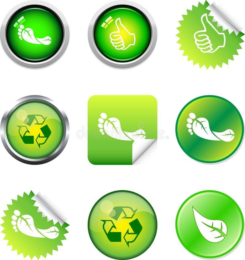 按钮绿色 库存例证