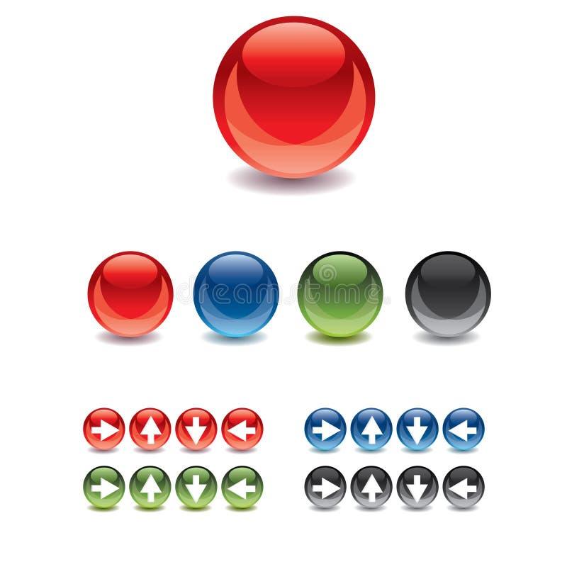 按钮胶凝体玻璃万维网 向量例证