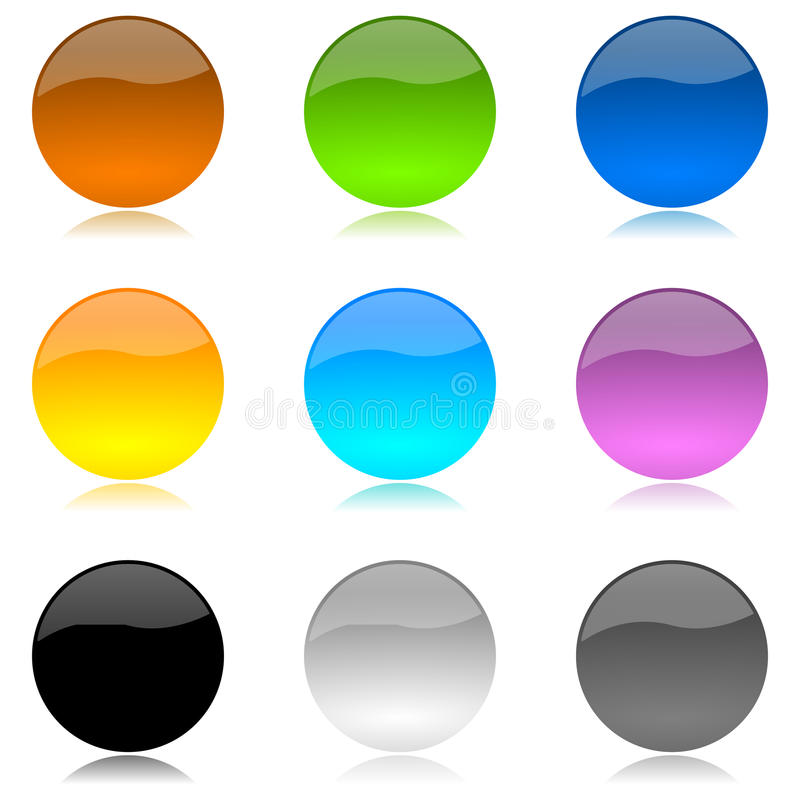 按钮色的光滑的被舍入的集 库存例证