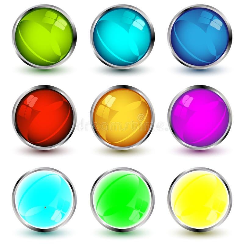 按钮被设置的向量万维网 免版税库存照片