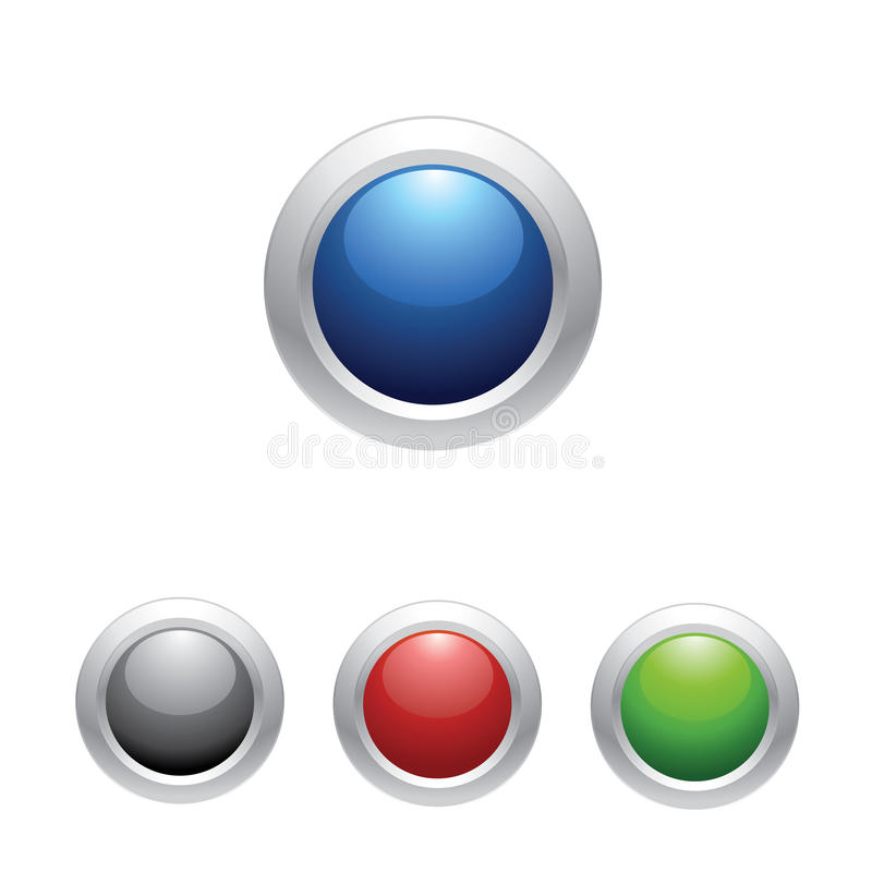 按钮设置了发光的万维网 皇族释放例证