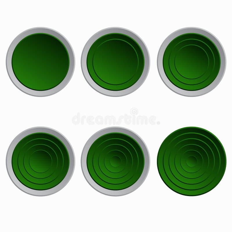按钮设计要素绿色集 向量例证