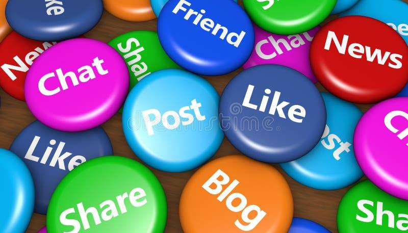 按钮象媒体网络集合社会向量的概念绿色 向量例证