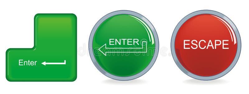 按钮输入换码 库存例证