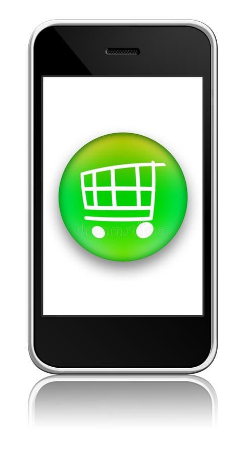 按钮采购于移动电话 免版税库存照片