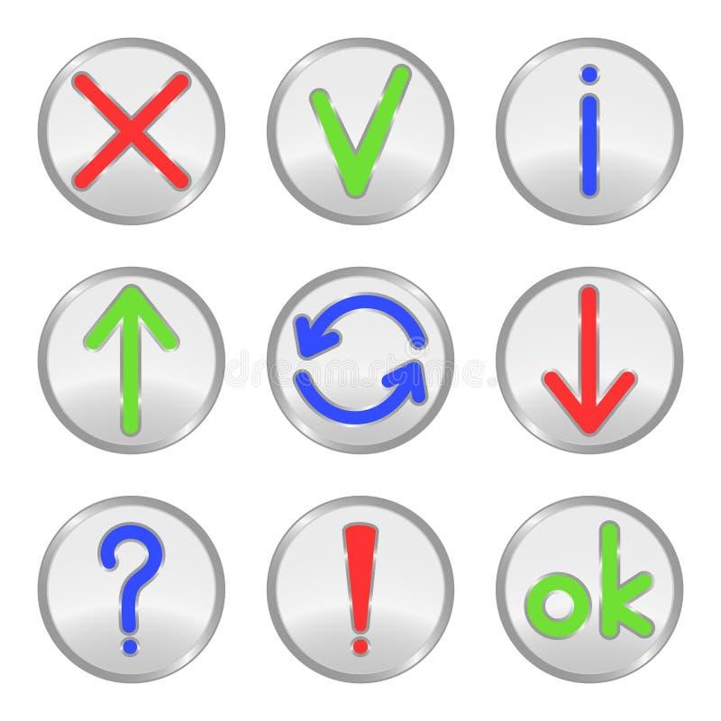 按钮银色万维网 库存例证