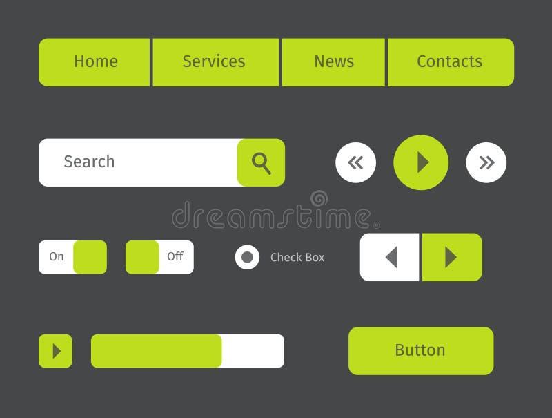 按钮绿色图标例证集合向量万维网 皇族释放例证