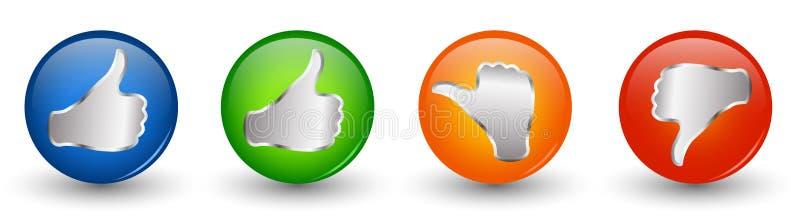 按钮3d例证象 赞许绿色和青的橙色中立拇指-在红色下的拇指 网上投票的标志 概念喜欢 皇族释放例证