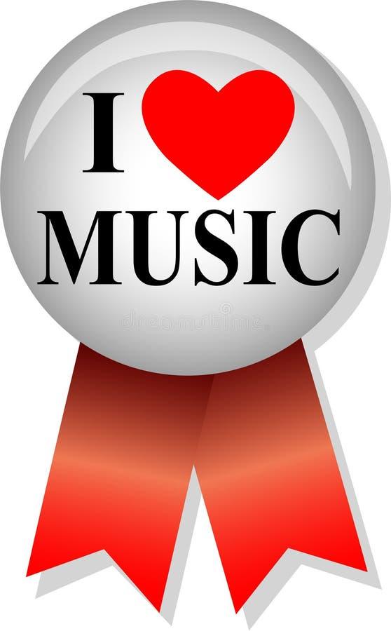 按钮eps我爱音乐 库存例证