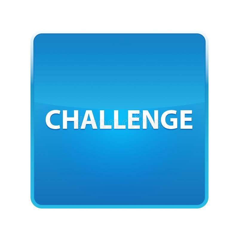 挑战发光的蓝色方形的按钮 皇族释放例证