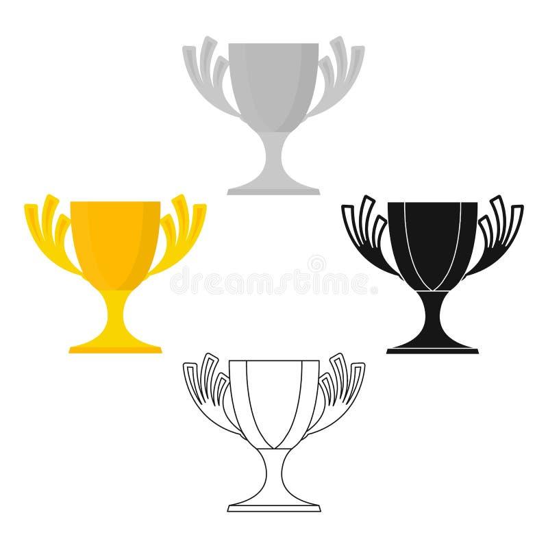 挑战在动画片,黑样式的杯子象隔绝在白色背景 优胜者杯子标志股票传染媒介例证 皇族释放例证