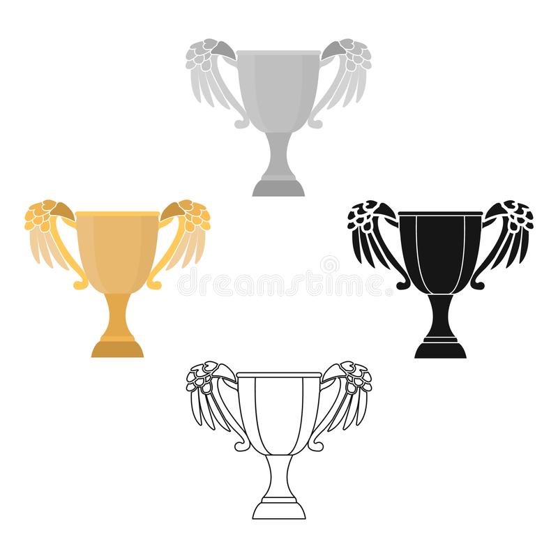 挑战在动画片,黑样式的杯子象隔绝在白色背景 优胜者杯子标志股票传染媒介例证 库存例证