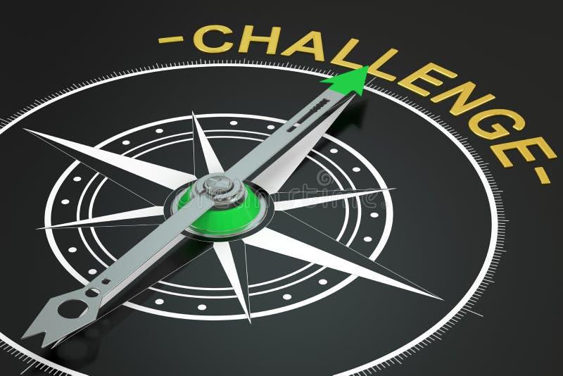 挑战指南针概念, 3D 库存例证
