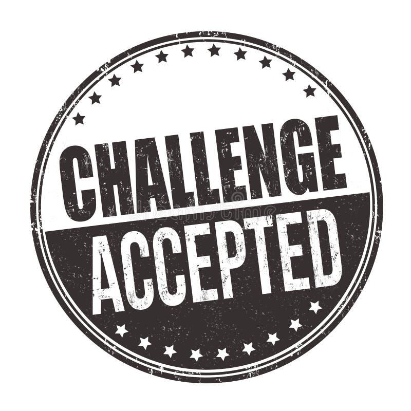 挑战接受了标志或邮票 库存例证