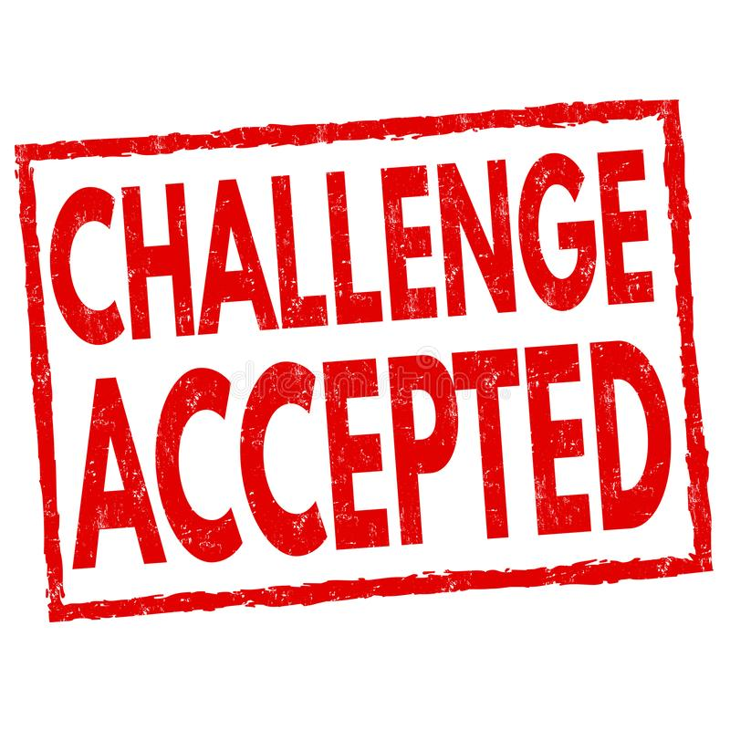 挑战接受了标志或邮票 向量例证