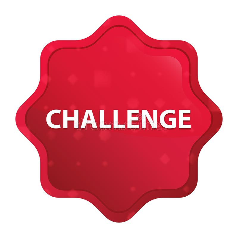 挑战有薄雾的玫瑰红的starburst贴纸按钮 向量例证