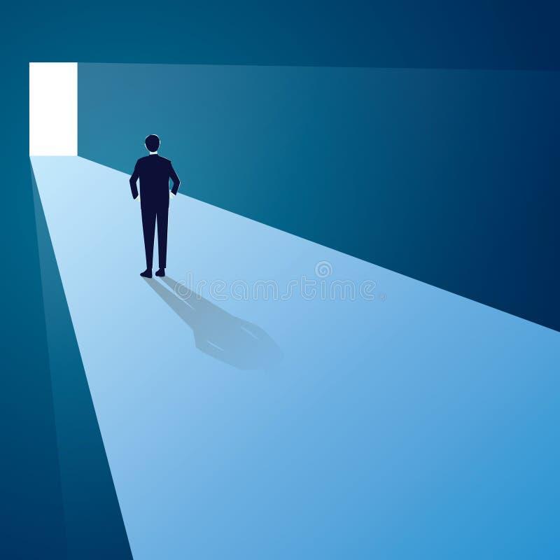 挑战概念查出的白色 站立在未来门前面的商人 向量例证