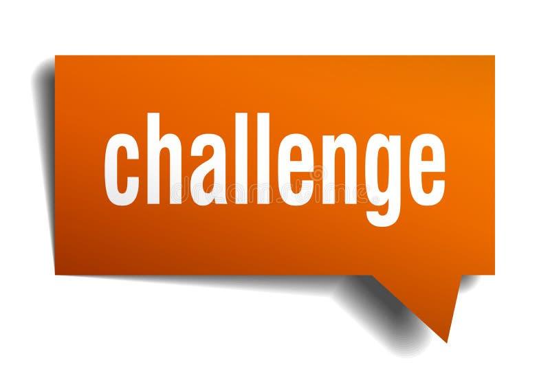 挑战橙色3d讲话泡影 皇族释放例证
