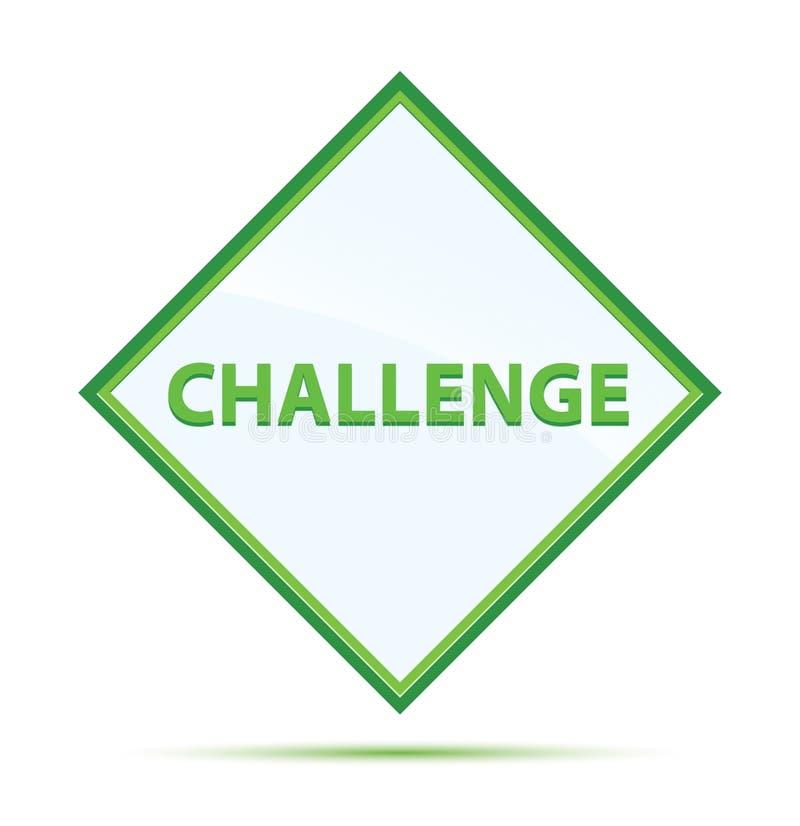 挑战现代抽象绿色金刚石按钮 库存例证