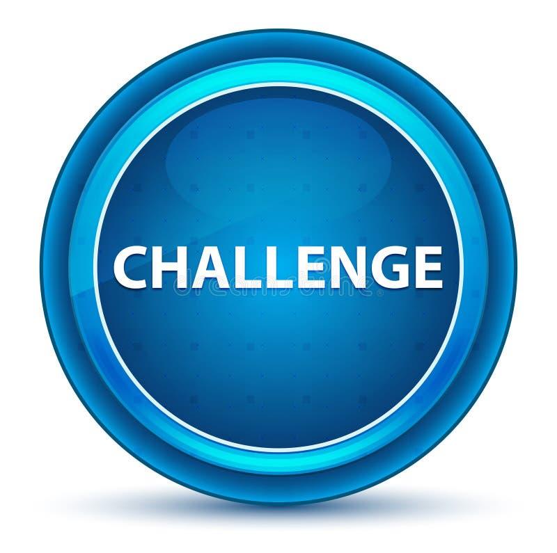 挑战眼珠蓝色圆的按钮 库存例证