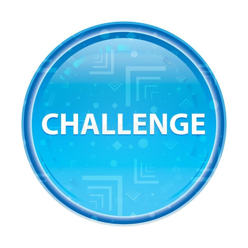 挑战花卉蓝色圆的按钮 向量例证