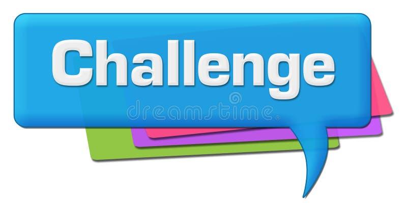 挑战蓝色五颜六色的评论标志 向量例证
