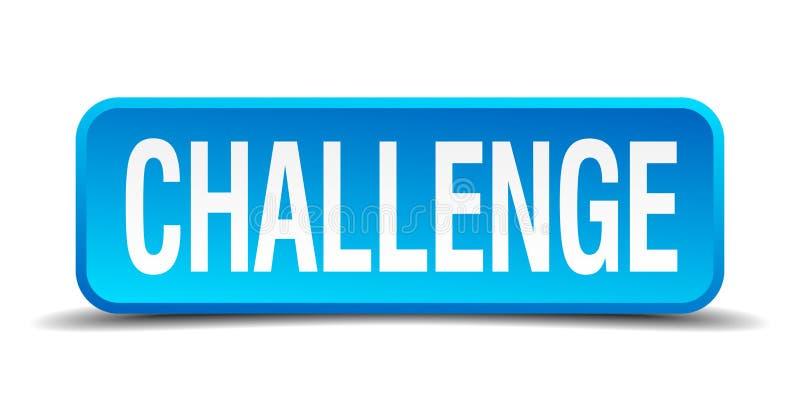 挑战蓝色3d现实方形的按钮 皇族释放例证