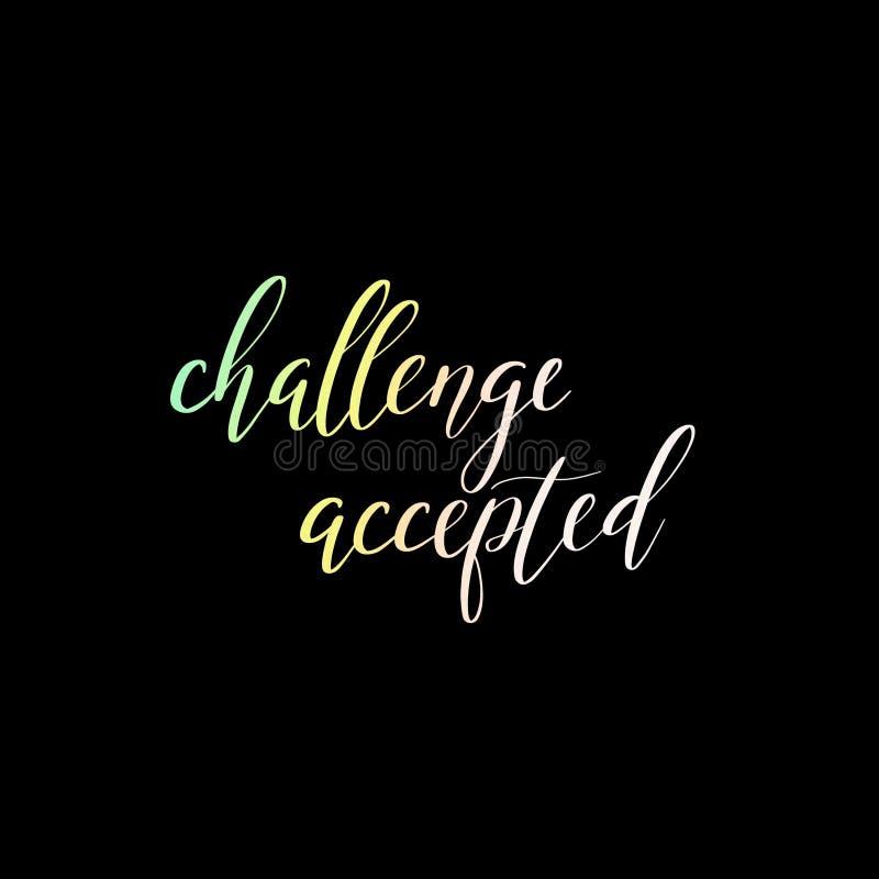 挑战被接受的手字法题字 皇族释放例证