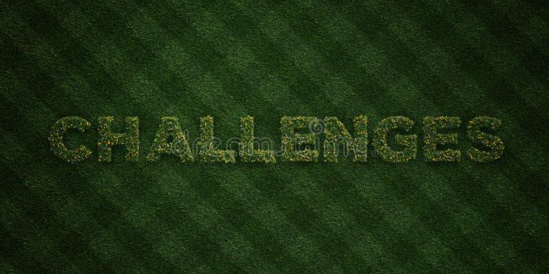挑战-与花和蒲公英的新草信件- 3D回报了皇族自由储蓄图象 向量例证