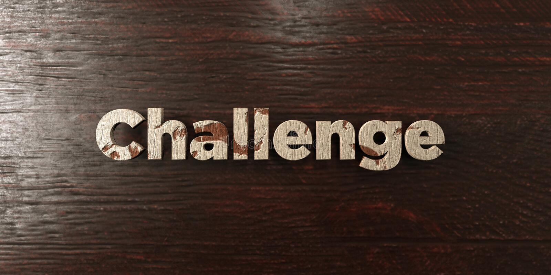 挑战-在槭树的脏的木标题- 3D回报了皇族自由储蓄图象 库存例证