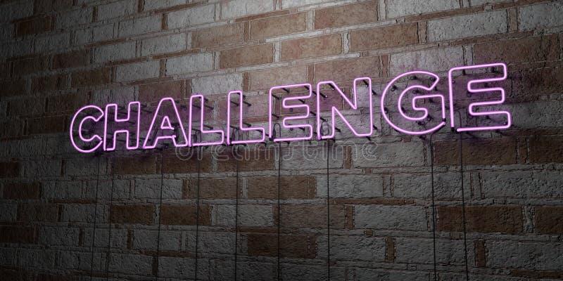 挑战-在石制品墙壁上的发光的霓虹灯广告- 3D回报了皇族自由储蓄例证 库存例证