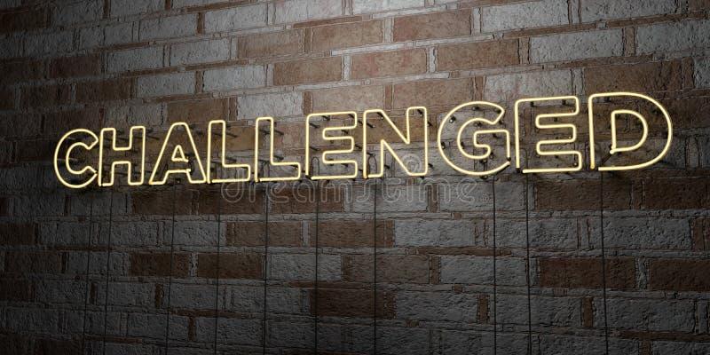 挑战-在石制品墙壁上的发光的霓虹灯广告- 3D回报了皇族自由储蓄例证 向量例证