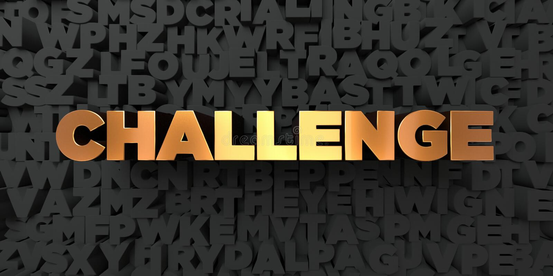 挑战-在黑背景的金文本- 3D回报了皇族自由储蓄图片 向量例证