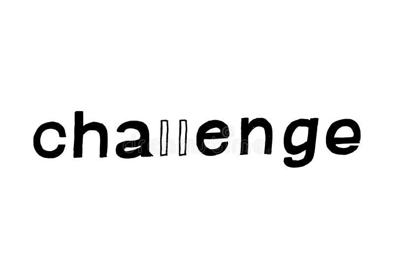 挑战-被隔绝的手拉的字法 向量例证