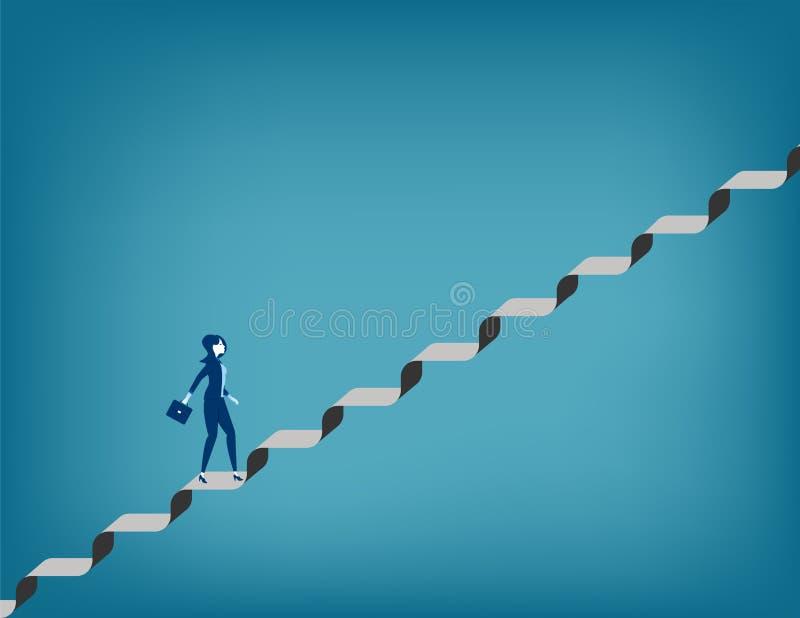 挑战 走楼梯的女实业家 库存例证